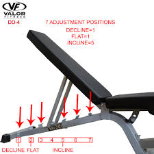 dd 4 flat incline decline fid adjustable utility bench valor