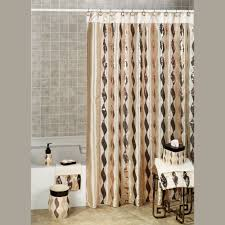 Blue And Brown Bathroom by Curtain Creates A Glittering Atmosphere For Your Bathroom With