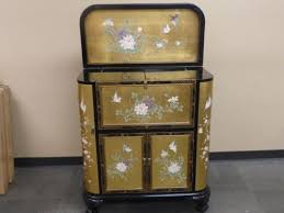 Lacquer Bar Cabinet Oriental Asian Japanese Chinese Black And Golden Lacquer Liquor