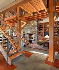 stair railing ideas living room contemporary with exposed beams