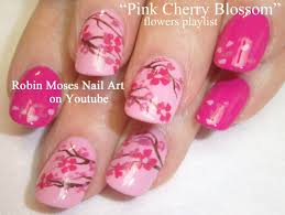 diy flower nails easy pink cherry blossom floral nail art