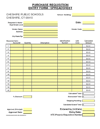 Purchase Order Form Template Excel Purchase Order Request Form Template
