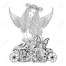 forest fairy with wings and wreath on the head young beautiful