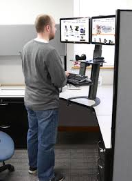 taskmate go sit to stand desk w dual monitor arm sit stand