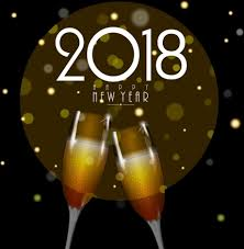 new years backdrop 2018 new year banner wineglass icons bokeh backdrop vectors stock