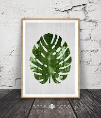 Tropical Decor Monstera Leaf Print Modern Minimal Botanical Wall Art Large