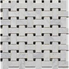white marble basketweave polished mosaic tiles with black dots