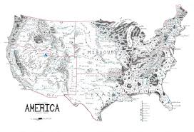 Map Of Usa Black And White by A Map Of The United States Drawn In The Style Of Lord Of The Rings