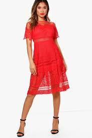 boohoo clothing boutique cary lace mesh midi skater dress boohoo