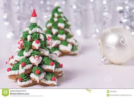 two frosted gingerbread christmas trees royalty free stock photos