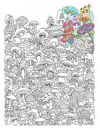 201 colouring mushrooms toadstools zentangles