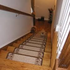 interior dark stair treads carpet on wooden stair combine with