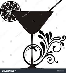 cocktail clipart black and white cocktail drink silhouette isolated on white stock vector 88264615