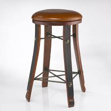 Vintage Wooden Dining Chairs Vintage Oak Wine Barrel Round Bar Stool With Leather Seat Wine