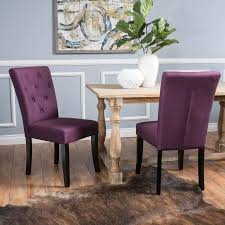 Noble House Dining Chairs Noble House Layla Deep Purple Fabric Dining Chairs Set Of 2