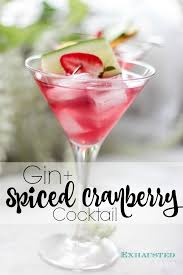 martini cranberry gin spiced cranberry cocktail the exhausted mom
