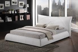 Baxton Studio Bed Corie White Modern Platform Bed King Size Affordable Modern