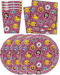 birthday party supplies girl emoji pink sparkle birthday party supplies set plates napkins