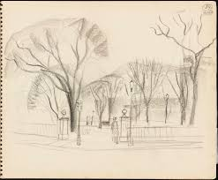 sketch of the entrance to the boston public garden digital