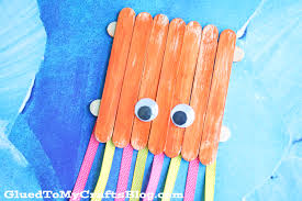 popsicle stick octopus kid craft glued to my crafts