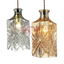 Industrial Glass Pendant Lights Modern Wine Bottle Design Vintage Bar Style Industrial Glass