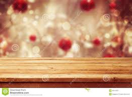 christmas holiday background with empty wooden deck table over