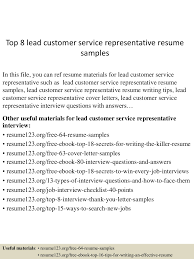 Resume Sample Of Customer Service Representative by Top8leadcustomerservicerepresentativeresumesamples 150528091448 Lva1 App6891 Thumbnail 4 Jpg Cb U003d1432804544