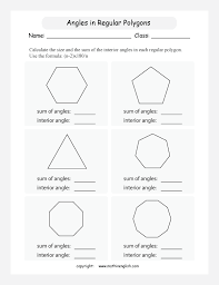 Regular Pentagon Interior Angles Math Geometry Worksheet Find The Angle Size In Several Regular