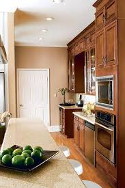Kitchen Color Schemes by Kitchen Style Brown Tall Cabinets Neutral Galley Kitchen Color