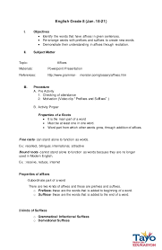 semi detailed lesson plan in affixes