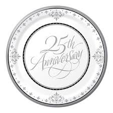 wedding anniversary plates 25th silver wedding anniversary lunch plates 18 pack balloons co uk