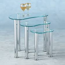 buy nest of tables katerina clear glass nest of 3 tables 4369 furniture in