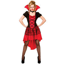 ladies black u0026 red glamorous vamp vampire horror fancy dress up
