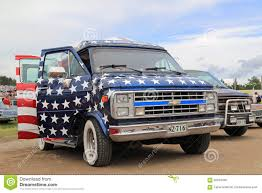 american flag truck chevrolet van with american flag design editorial image image