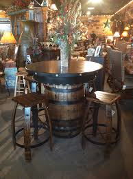 Rustic Pub Table Whiskey Barrel Pub Table Western Bar Table - Barrel kitchen table