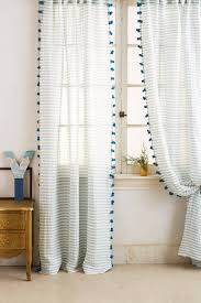 Anthropologie Ruffle Shower Curtain Pom Tassel Curtain More Colors Available Anthropologie Com