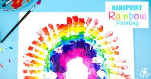 gorgeous handprint rainbow painting kids craft room