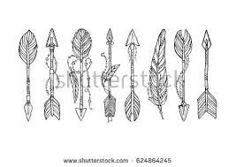 vector doodle bow arrow composition feathers stock vector