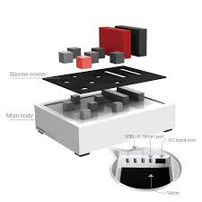 table l with usb charging port powerhouse high power desk usb charging station white