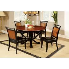 furniture of america lyda acacia wood black 5 piece dining set by