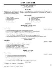 Lead Resume Appealing Team Lead Resume 29 For Your Resume Examples With Team