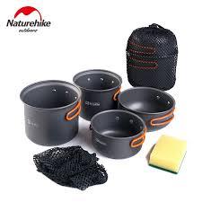 pot ustensile cuisine naturhikeoutdoor outdoor cookset non stick pots pans bowls portable