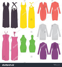 various flat sketches dresses stock vector 132173099 shutterstock