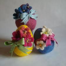 felt easter eggs needle felting easter eggs flowers and pretty ribbons