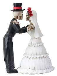 skull cake topper day of the dead embracing skulls wedding cake topper wedding