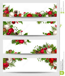 vector banners with red white and green christmas decorations