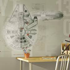 Millennium Home Design Inc by Roommates 90 In X 72 In Star Wars Millennium Falcon Prepasted