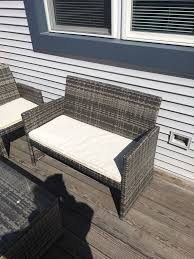 Patio Table Furniture Gray And White Patio Furniture 2 Chairs One Bench One Table
