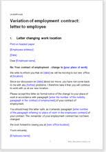 change to employment terms letter to employee