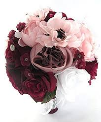 wedding flowers pink wedding bouquets bridal silk flowers burgundy wine